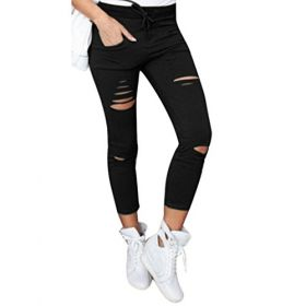 Xinan Damen Yoga Hose Women Skinny Ripped Pants High Taille Stretch Slim Bleistift Hose (M, Schwarz)